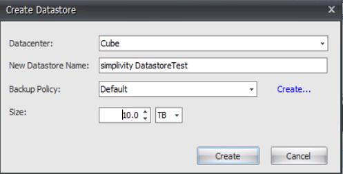 simplivity - create datastore