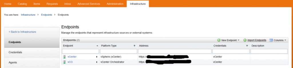 vRealize and vCo - Endpoint