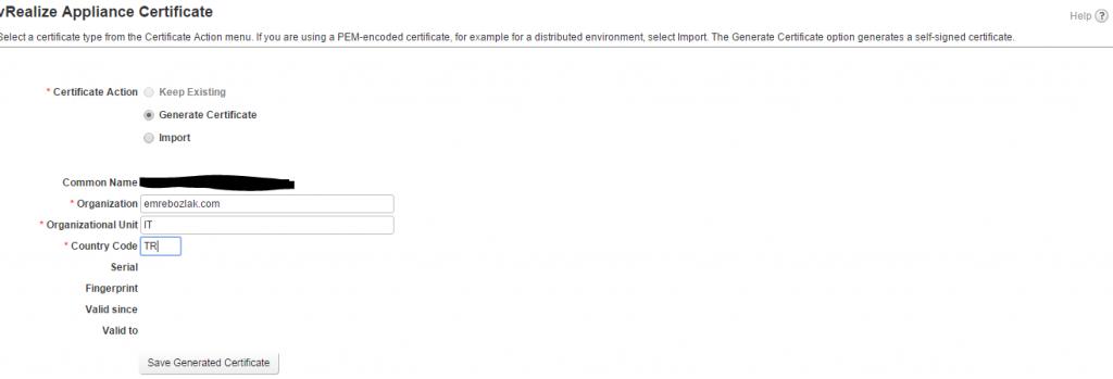 vRA 7 - Installation Appliance Certificate