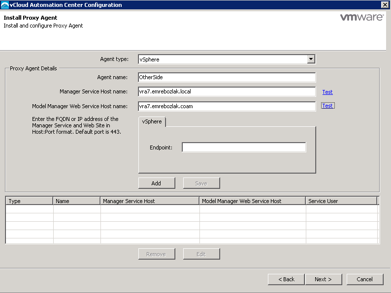 vRA additonal Endpoint - Install Proxy Agent